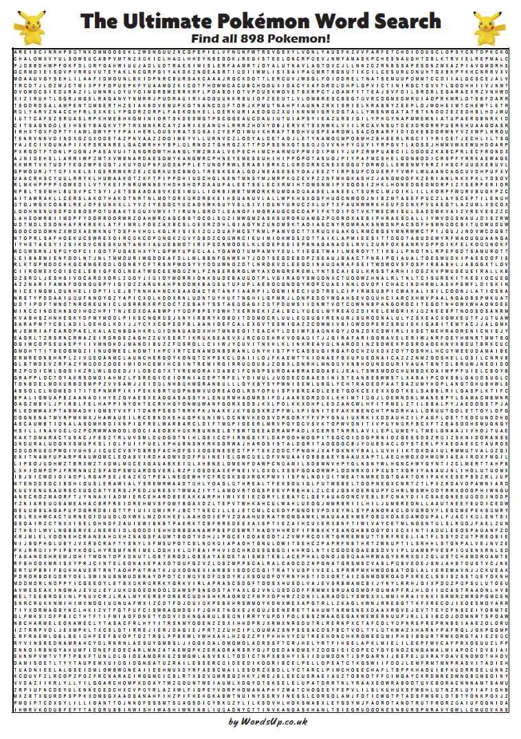 Ultimate Pokemon Word Search